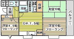 レクシア豊里 4階3DKの間取り