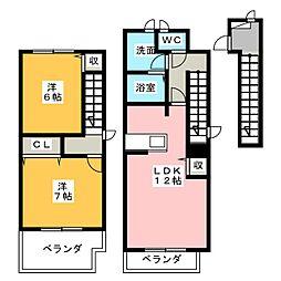 ラ・フルールI[2階]の間取り