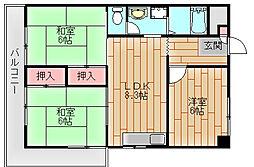 パークハイム住之江[4階]の間取り