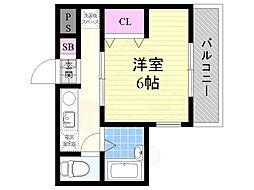 グランメール東淀川 1階1Kの間取り