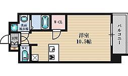 プレサンス新大阪クロステージ 2階ワンルームの間取り