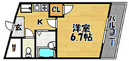 大阪府大阪市東淀川区豊里6丁目の賃貸マンションの間取り