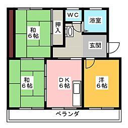 サンハイツ三保[3階]の間取り