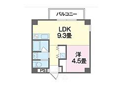 沖縄都市モノレール 小禄駅 徒歩10分の賃貸マンション 4階1LDKの間取り