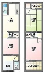 [テラスハウス] 大阪府門真市岸和田2丁目 の賃貸【/】の間取り