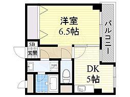 南海高野線 初芝駅 徒歩16分の賃貸マンション 2階1DKの間取り