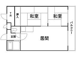 エンドレス三井西岡 4階2LDKの間取り
