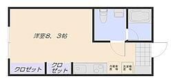 JR山陽本線 五日市駅 3.6kmの賃貸アパート 1階ワンルームの間取り