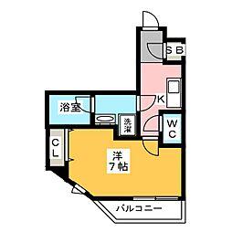 ザ・レジデンス・オブ・トーキョーT12 2階1Kの間取り