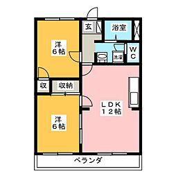 シャトー森平[2階]の間取り