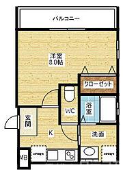 リアコートJR淡路駅前 2階1Kの間取り