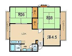 兵庫県加古川市加古川町本町の賃貸アパートの間取り