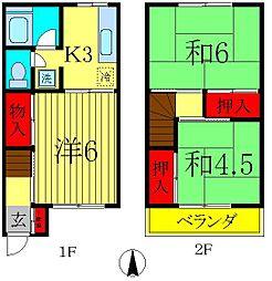 [テラスハウス] 千葉県松戸市新松戸3丁目 の賃貸【/】の間取り