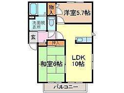 静岡県静岡市清水区由比の賃貸アパートの間取り