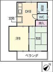 錦ハイツ[4階]の間取り