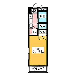 ウッドベルK[3階]の間取り