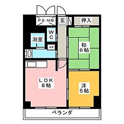 サングリートハイツ[7階]の間取り