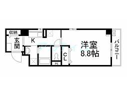 京阪本線 清水五条駅 徒歩7分の賃貸マンション 3階1Kの間取り
