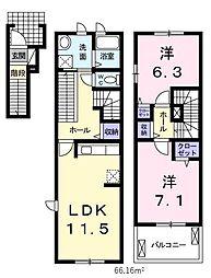 埼玉県川口市差間2丁目の賃貸アパートの間取り