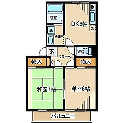 東京都府中市四谷3丁目の賃貸アパートの間取り