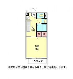 愛知県岩倉市大山寺元町の賃貸アパートの間取り