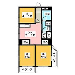 蟹江ハイツ[3階]の間取り