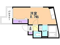 アレックス野幌II 2階ワンルームの間取り