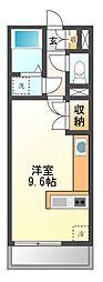 愛知県名古屋市緑区平手南1丁目の賃貸アパートの間取り