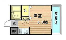 童夢ハイツマナベ[6階]の間取り