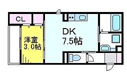 JR中央線 三鷹駅 徒歩10分の賃貸アパート 2階1DKの間取り