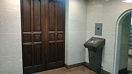 普通のマンションには見られない重厚な木製オートロック扉です。