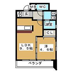プロビデンス筒井[4階]の間取り