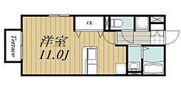 JR東金線 求名駅 徒歩19分の賃貸アパート 1階ワンルームの間取り