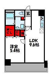 グランディス空港東 4階1LDKの間取り