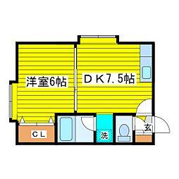 北海道札幌市東区北二十四条東12丁目の賃貸アパートの間取り