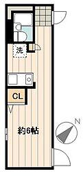 デュオメゾン幡ヶ谷 3階ワンルームの間取り
