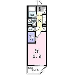 ディアコート 2階1Kの間取り
