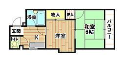 福岡県北九州市八幡西区別所町の賃貸マンションの間取り
