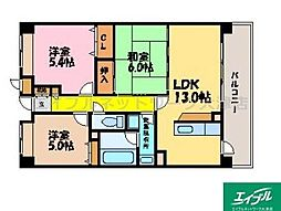 滋賀県大津市下阪本6丁目の賃貸マンションの間取り