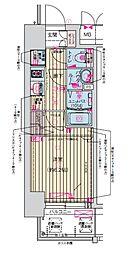 プレサンス天神橋筋六丁目ヴォワール 5階1Kの間取り