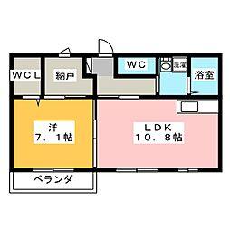 レインボー清風[1階]の間取り