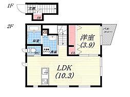阪神本線 甲子園駅 徒歩7分の賃貸アパート 2階1LDKの間取り