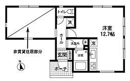 鴨居4丁目アパート 1階ワンルームの間取り