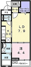 阪急宝塚本線 池田駅 徒歩14分の賃貸マンション 2階1LDKの間取り