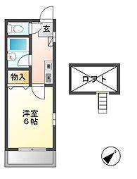 愛知県名古屋市西区中小田井3丁目の賃貸アパートの間取り