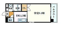 JR山陽本線 広島駅 徒歩8分の賃貸マンション 3階1DKの間取り