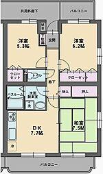 静岡県伊豆の国市四日町の賃貸マンションの間取り