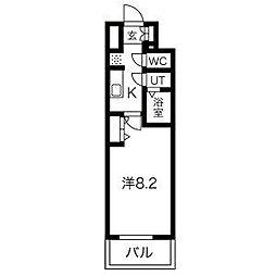名古屋市営鶴舞線 浅間町駅 徒歩5分の賃貸マンション 8階1Kの間取り