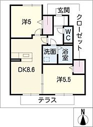 ファルツ稲上B棟[1階]の間取り