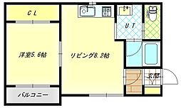 Thermie柏木 1階1DKの間取り